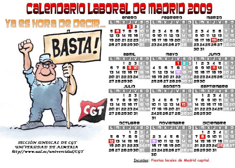Calendario Ual.Ral Del Trabajo Calendario Madrid 2009 Ual Confederacion Gene