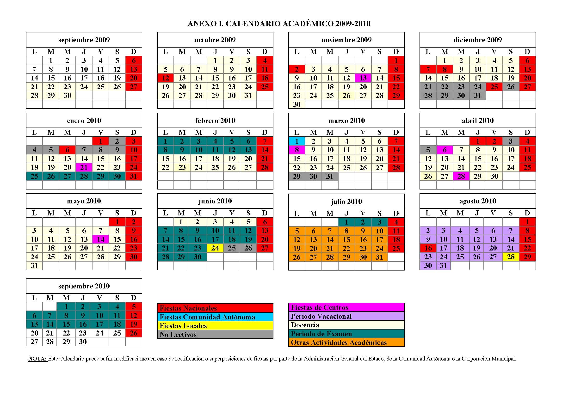 Calendario Ual.Fernando Carvajal Ramirez